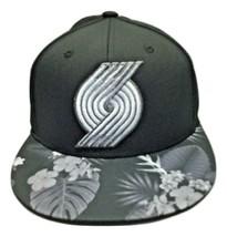 Portland Trail Blazers NBA Black adidas Fitted Hat Cap  - Flat Bill - Small / Me - $16.48