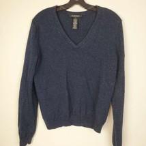 Ellen Tracy Navy Blue Shimmer Merino Wool Silk Pullover V-neck LS Sweate... - $30.08