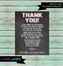 Baby Shower ~ANY COLOR~  Chalkboard Party Thank You Note Notes Cards Per... - $1.10