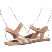 Coach Reena Ankle Strap Flat Espadrilles Sandals 143, Beige/White, 8 US - $24.95