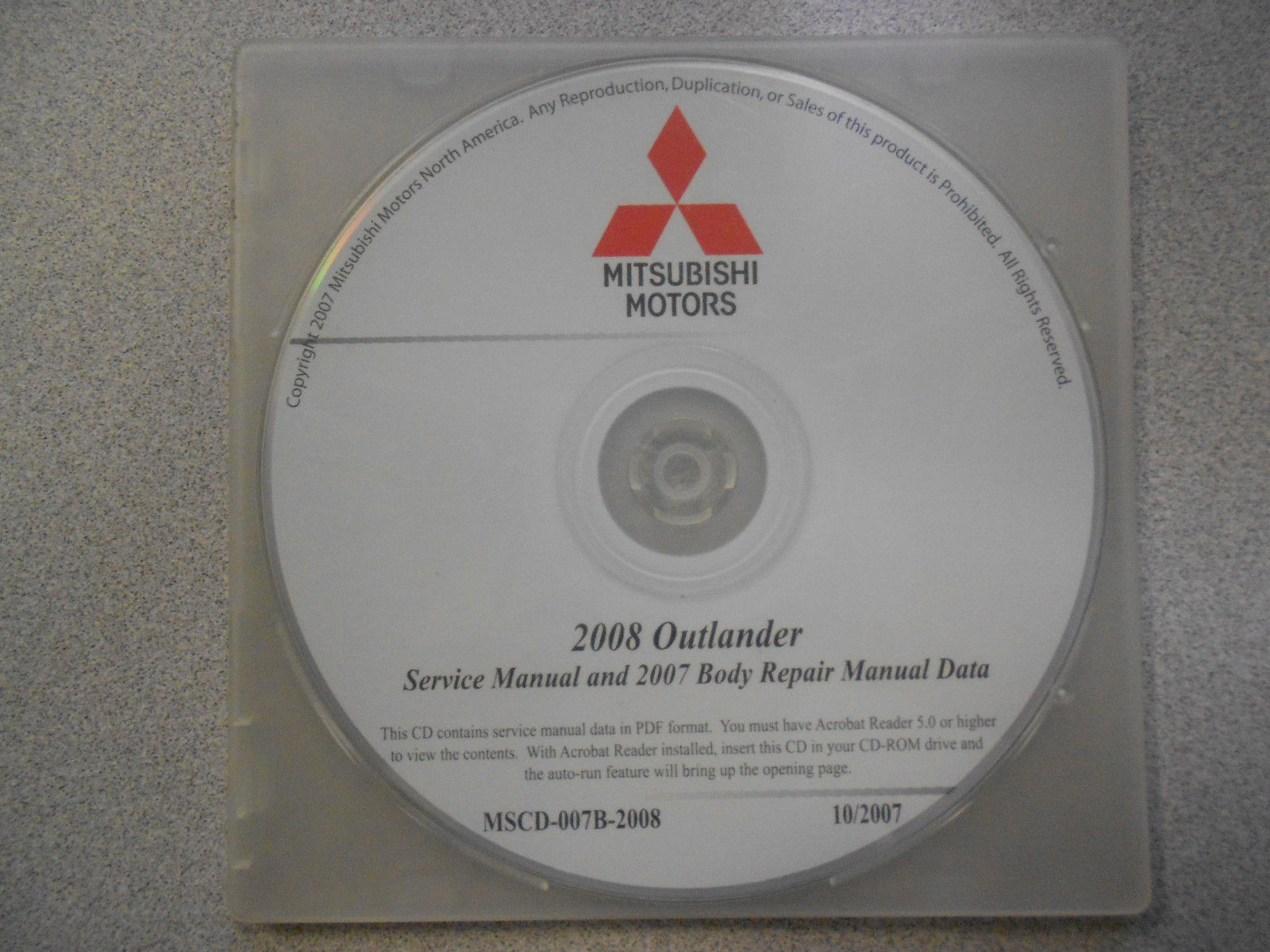 2008 2007 MITSUBISHI OUTLANDER Service Repair Manual CD BRAND NEW
