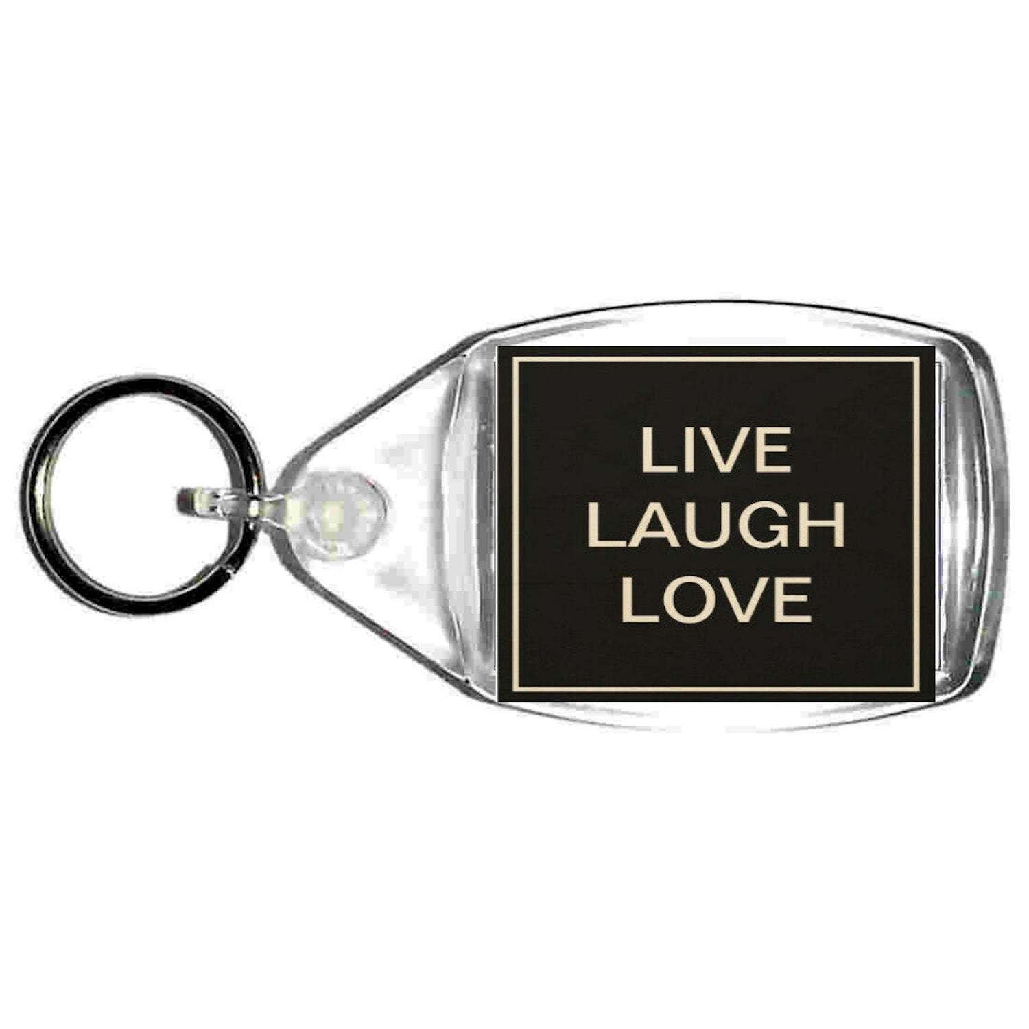 keyring double sided live laugh love design, keychain