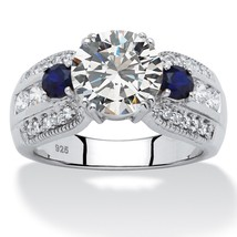 PalmBeach Jewelry 3.91 TCW CZ & Sapphire Ring Platinum over .925 Sterlin... - $40.82