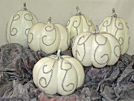 TWO'S COMPANY Decorative Autumn White Pumpkin Rhinestone Bling Accent LO... - £21.78 GBP