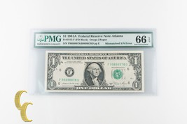 1981-A $1 Federal Reserve Note S/N Error Fr#1912-F Graded Gem Unc 66 by PMG - $1,188.00