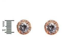 Pave+Round  Clear AAA Cubic Zirconia 14K Rose Plated Halo Stud Earrings 11MM - $23.76