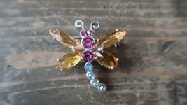 Vintage Silver Multicolor Dragonfly Brooch 3.6cm - $16.63