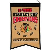 Chicago Blackhawks 5 Time Stanley Champions Banner - $20.78