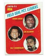 1971-72 Topps #140 1970-71 NBA Field Goal PCT. Leaders Alcindor (Jabbar), Green - $9.30