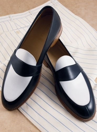 Men Navy blue and white leather shoes, Men slip ons, Men formal spectator shoes