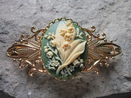 LILY OF THE VALLEY CAMEO GOLD FILIGREE BARRETTE - GREEN - FLORAL - WEDDING - $21.13