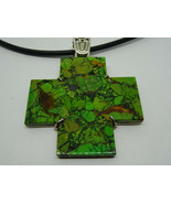 Jay King Mine Finds Green Stone Turquoise Cross Pendant on Cord DTR Ster... - $92.00