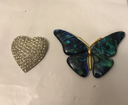 Vintage Heart Rhinestone And Butterfly / Missing Pieces/ Broken - $4.95