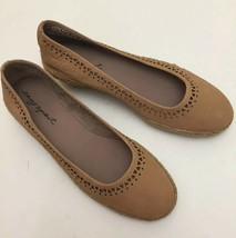 Easy Spirit Derely Wedge Heels Espadrilles Tan Leather Geometric Design Size 8M - $40.29 CAD