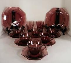 Hazel Atlas MOROCCAN Amethyst Glass 16-pc LOT Dinner Plate Tumbler Cup P... - $59.39