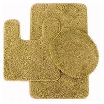 NEW! BATHROOM SET BATH MAT COUNTOUR RUG LID COVER GOLD US - $31.66
