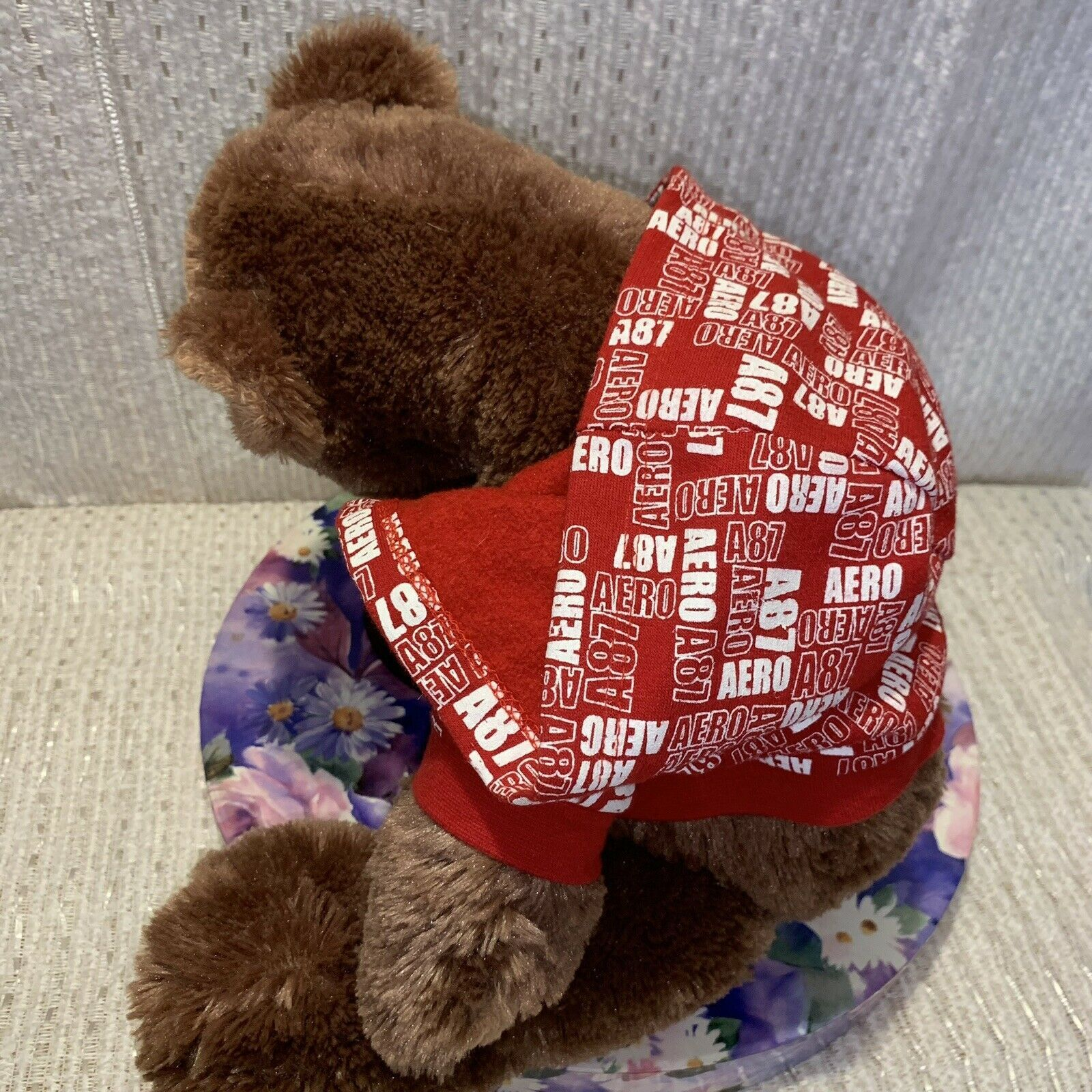 """Boyds Bears And Friends Areo 87 Red And White Hooded Sweatshirt 17"""" Stuffed Bear"""
