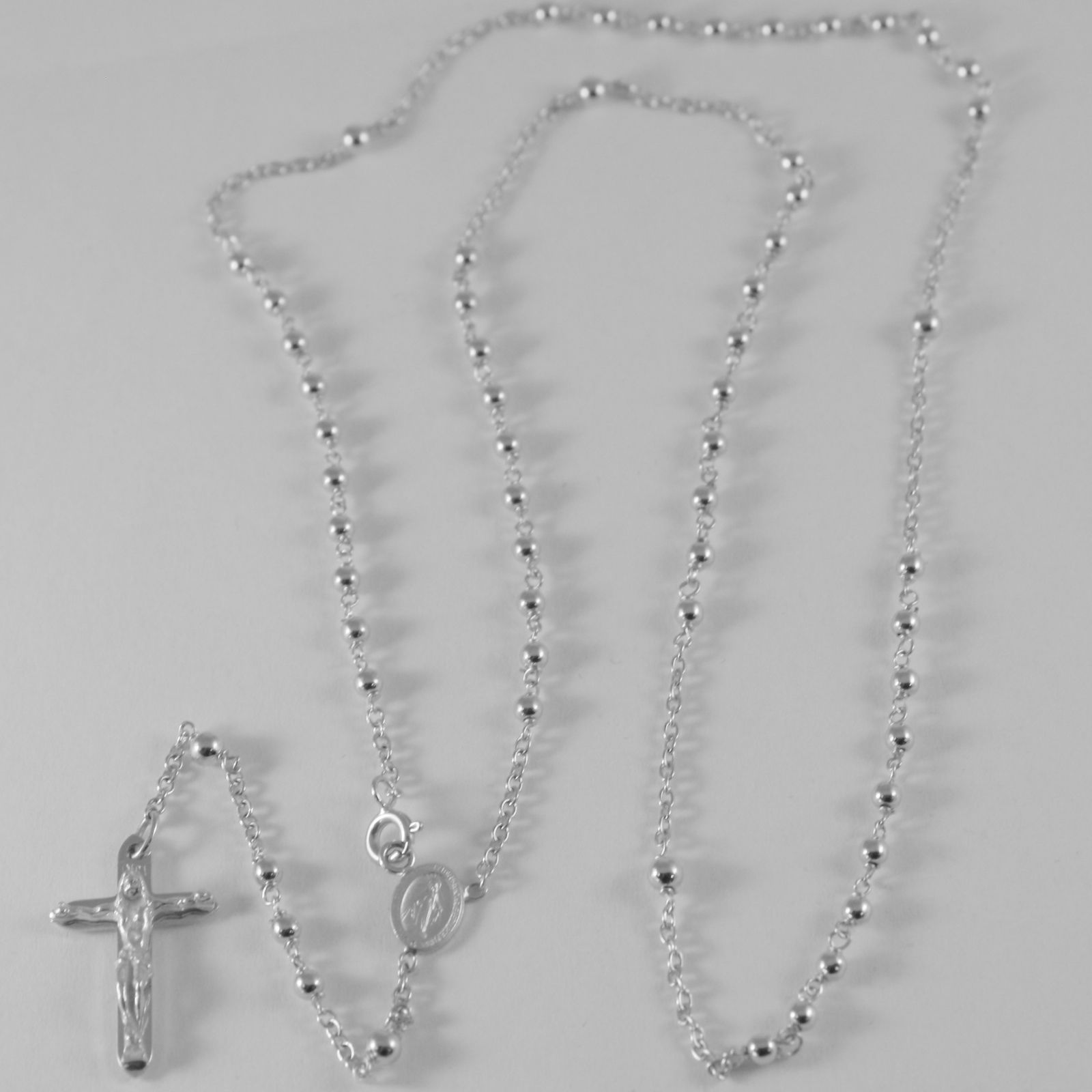18K WHITE GOLD ROSARY NECKLACE MIRACULOUS MARY MEDAL & JESUS CROSS MADE IN ITALY