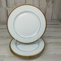 5 St Nicholas Square Laurel Gold Dinner Plates Porcelain 18 Karat Gold Band - $29.09