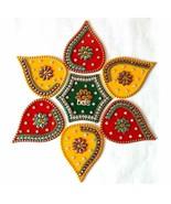 BDS CREATIONS Red Designer Handcrafted Diwali Rearrangable Kundan Rangol... - $18.13