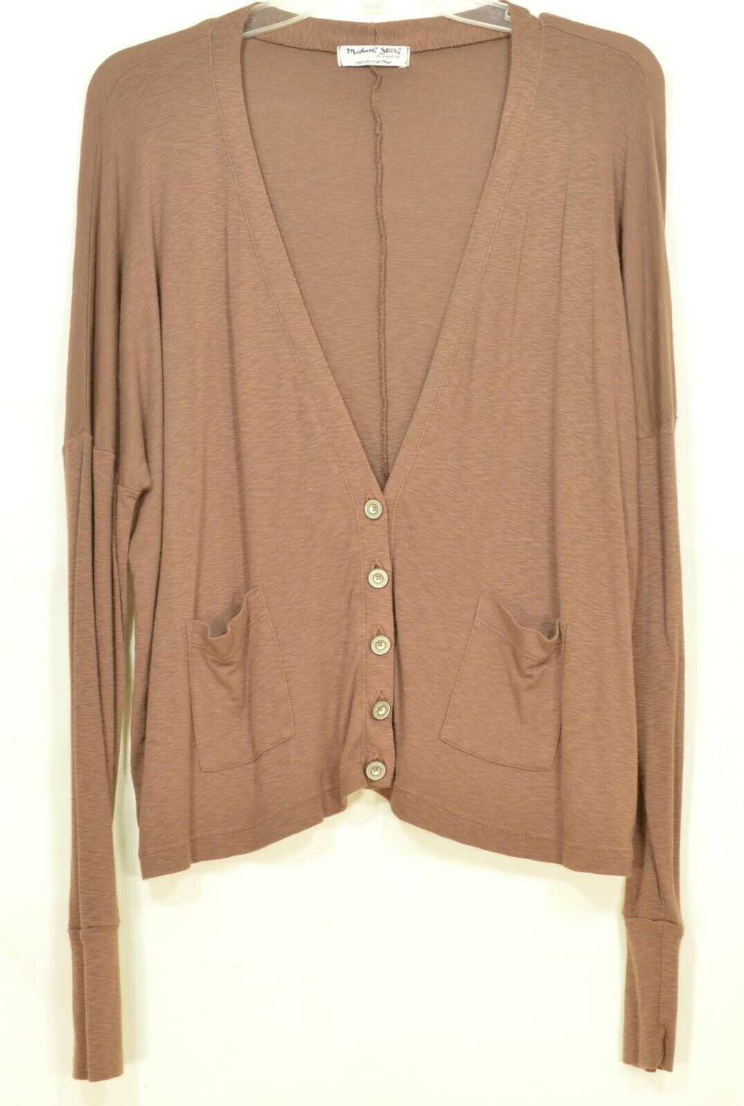 Michael Stars sweater OSFM brown cardigan dropped shoulders lightweight fall USA image 5