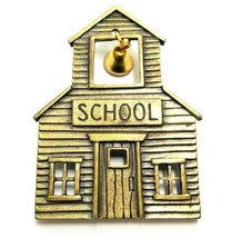 JJ SIGNED SILVER TONED METAL SCHOOL HOUSE BROOCH PIN WITH DANGLE BELL JO... - $9.49