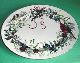 """Lenox Winter Greetings Large Oval Platter 16"""" Bird Motif Made in USA New - $139.90"""