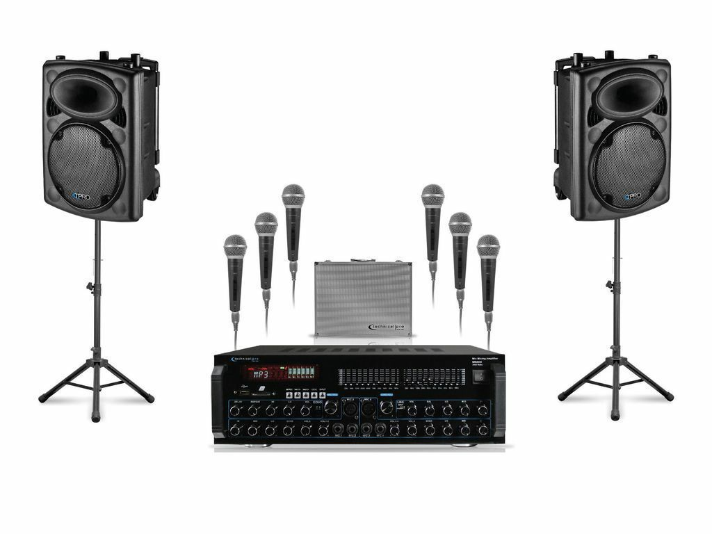 "Technical Pro  12"" Stage Speaker Amplifier 6 Microphone DJ 3000w Package"