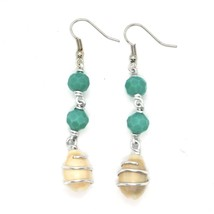 EARRINGS THE ALUMINIUM LONG 6 CM WITH SEASHELLS AND CRYSTAL GREEN WATER image 2