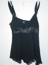 GAP black 100% silk cami top tank shirt hankerchief hem flowy-NWT-0 - $11.26