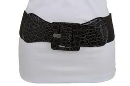 New Fun Women Belt High Waist Hip Dark Brown Fabric Fashion Square Buckle M L XL - $12.73