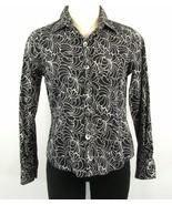 FOXCROFT Size 2 Petite 2P Wrinkle Free Cotton Button-Down Shirt Black Wh... - $15.99