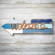 Welcome arrow wood plaque with rope from gifts by fashioncraft  - $28.99