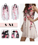 Summer Short Dresses Casual Womens Floral Round Neck Cut Out Sleeveless ... - $25.60