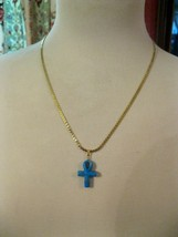 Monet Necklace Blue Turquoise genuine cross Gold Tone  Signed - $9.90