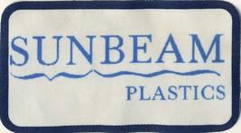 """Sunbeam Plastics 4.5"""" x 2.5"""" Printed Advertising Patch Evansville IN Ind... - $8.86"""