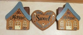 Home Sweet Home Wood Shelf Sitter Wall Plaque Decor Country Farm 3 Pieces - $12.99
