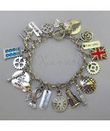 Doctor Who Charm Bracelet With Tardis Dalek Union Jack Sonic Screwdriver... - $76.00