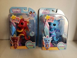 B6=LOT 2- Fingerlings Baby DRAGON Tara Blue+ Baby Dragon  Ruby Red Interactive - $17.82