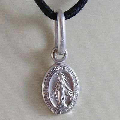 18K WHITE OR YELLOW GOLD MINI MIRACULOUS MEDAL VIRGIN MARY MADONNA MADE IN ITALY