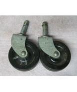 """Lot of 2 Vintage Industrial Large Metal Castors Wheels 2 3/8"""" Wheel Lock... - $18.32"""