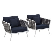 Stance Armchair Outdoor Patio Aluminum Set of 2 White Navy EEI-3162-WHI-... - $1,009.00