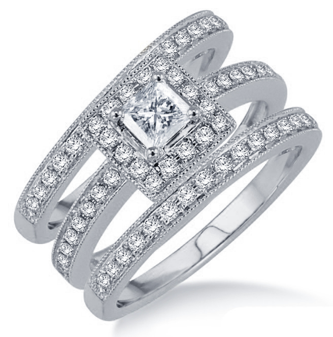 Primary image for Women's Trio Ring Set In White Gold Plated 925 Silver Princess Cut Sim Diamond
