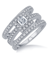 Women's Trio Ring Set In White Gold Plated 925 Silver Princess Cut Sim D... - $138.99