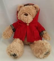 Toys R Us 2011 Super Soft Cute Plush Teddy Bear Red Hooded Coat Plaid Cu... - $19.75