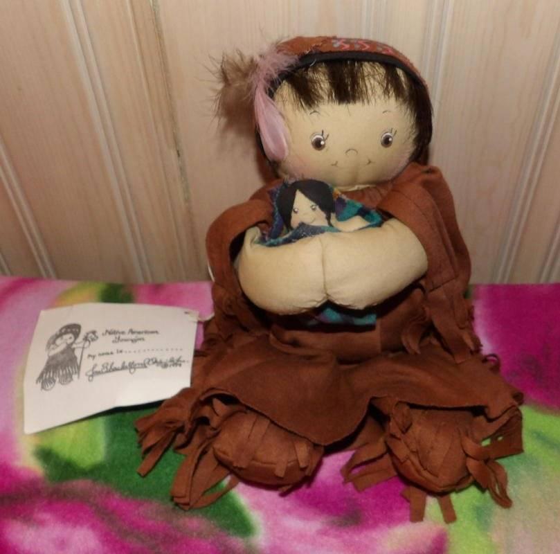 Jan Shackelford H/S 1995 Native American Girl Holding Soft Safely Bundled Doll