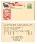 Postal Card UX27 Lincoln Patriotic Cachet A O Fleischman Bridgeton NJ Ad... - $4.99