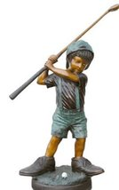 Small Boy Playing Golf Solid American Bronze Jumbo Size Statue Sculpture - $2,053.10