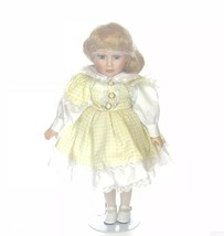 Vanessa Porcelain Doll by Vanessa Ricardi Blonde Hair Blue Eyes w/ Stand... - $24.74