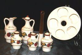 Ceramic Oil, Vinegar, Mustard, Salt, and Pepper on a Caddie AA19-1640 Vintage image 7